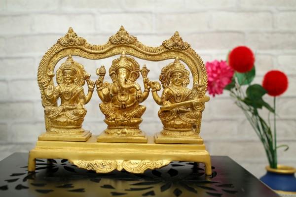 laxmi Ganesh ji Saraswati ji Brass Figurine Idol of Hindu Worship Home Decorative Religious Idol