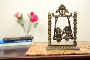 Brass Figurine Lakshmi Ganesh on Jhula