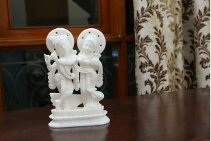 Marble Crafted Radha Krishna With Peacock