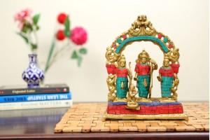 Ram Darbar Brass Figurine with Stonework