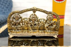 Aluminum Crafted Lakshmi Ganesha Saraswati