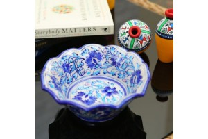 Flower Shape Bowl- Blue pottery