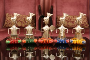 Metal Crafted Set of Tribal Musicians