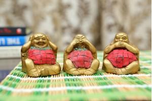 Set of Laughing Buddha Statue: Brass