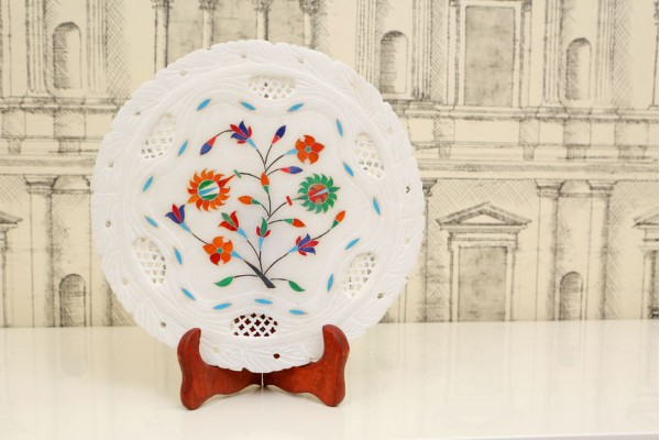 Marble Decorative Plate with Inlay Flowers