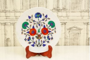 Marble Plate With Inlay Flowers