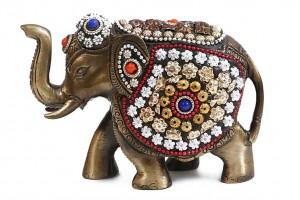 Brass Elephant with Stonework
