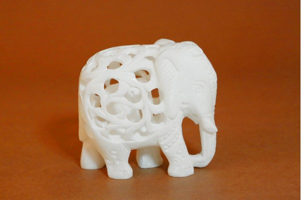 Marble Elephant with Jali work T.down-13 cm