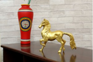 Brass Horse Running Statue