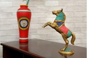 Brass Horse Showpiece With Stone Work