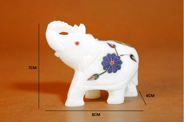 Marble Elephant With Inlay Work-7 cm