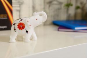 Elephant With Inlay Work-9 cm