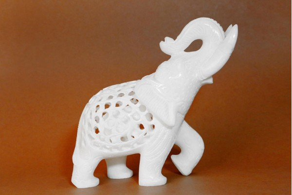 Marble Elephant With Jali Work T. Up-11 cm
