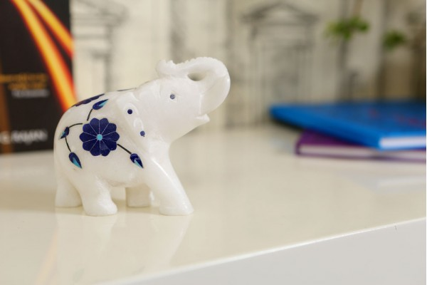 Marble Elephant With Inlay Work-9 cm