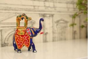 Meenakari Ambabari Elephant-13 cm