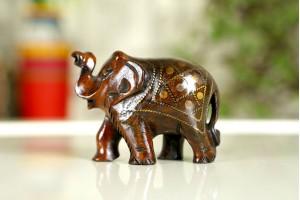 Wooden Decorative Elephant with Tarkashi work-5 Cm