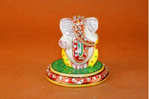 Marble Carved Ganesha On Plate