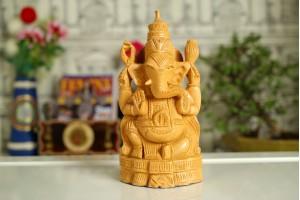 Wood Carved Ganesh Idol