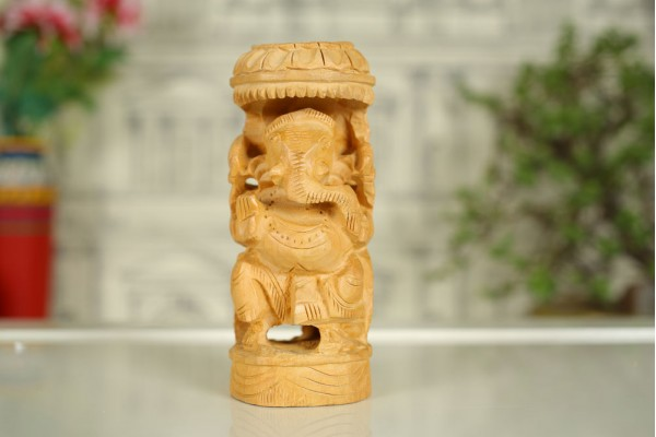 Wood Carved Ganesh idol with Canopy