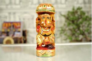 Wood Carved Ganesha Idol-16 cm
