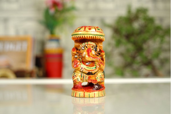 Wooden Ganpati Idol – Hand Carved and Painted