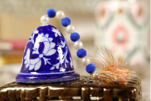 Blue Pottery Medium Christmas Bell-6 cm