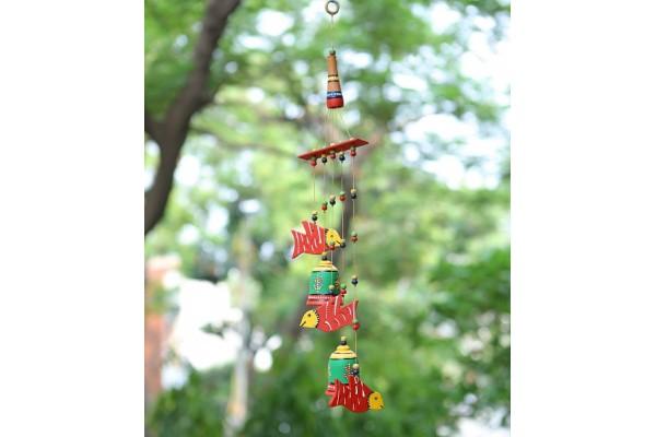 Bells & Birds Hanging Wind Chimes : Terracotta