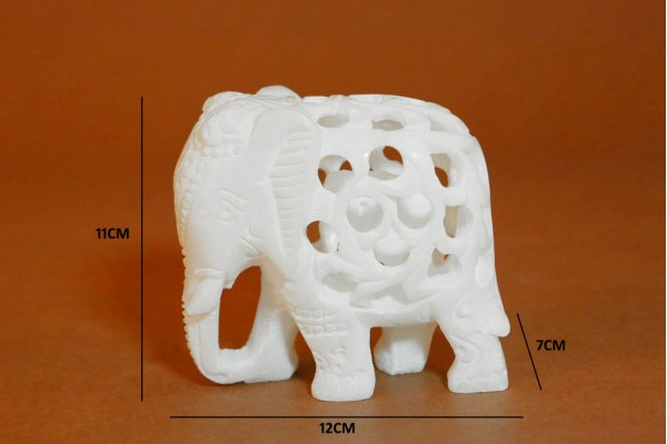 Marble Elephant With Jali Work T.Down-11 cm