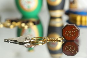 Personalized Wooden Key Chain in 'P' Pattern