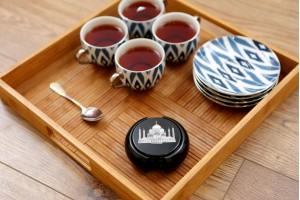Marble Tea Coaster Black With Inlay Taj Mahal