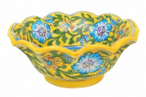 Lotus Shape Serving Bowl- Blue Pottery