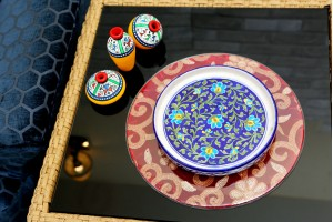 Plate With Floral Design: Blue pottery