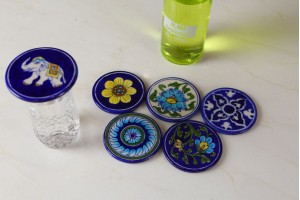 Round Shaped Coasters : Blue Pottery
