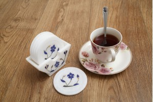 Tea Coaster With Inlay Flower : Marble
