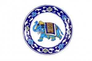 Plate With Elephant: Blue Pottery