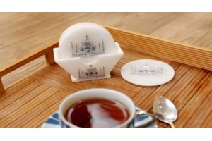 Marble Tea Coaster Inlay With Taj Mahal