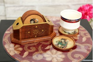 Wood Carved Tea Coaster Set With Painting