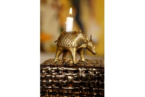 Bull Shaped Candle Stand: Dhokra art