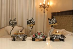 Metal Cat Shaped tea/Candle Light Holder Set