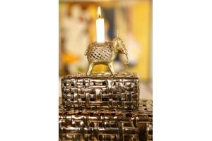 Elephant Shaped Candle Stand- Dhokra Artwork