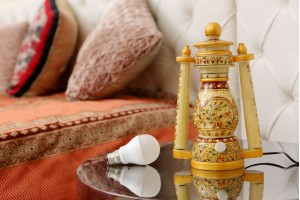 Marble Lantern with light-26 cm
