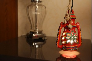 Terracotta Lantern With Light 21cm