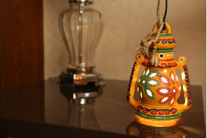 Terracotta Lantern With Light :21 cm