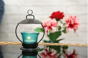 Glass Tea Light Holder-Green Color
