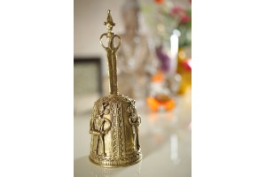 Dhokra Art Hand Bell With Figures