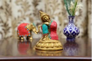 Brass Buddha With Stonework
