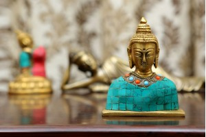 Lord buddha Brass bust with stonework
