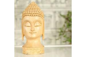 Wood Carved Buddha Head
