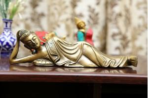 Resting Buddha Brass Figurine-27 cm