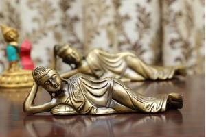 Resting Buddha Brass Figurine-19 cm